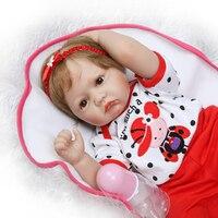 NPK 55 см Новые популярные волокна волос хлопка тела реалистичные новорожденных девочек подарок на день детей силиконовые куклы reborn дети игру