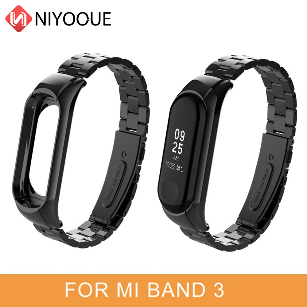 For Miband 4 Belt Replaceable Watch Straps Stainless Steel Wrist Strap For Xiaomi Mi Band 3 Metal Watch Band Smart Bracelet