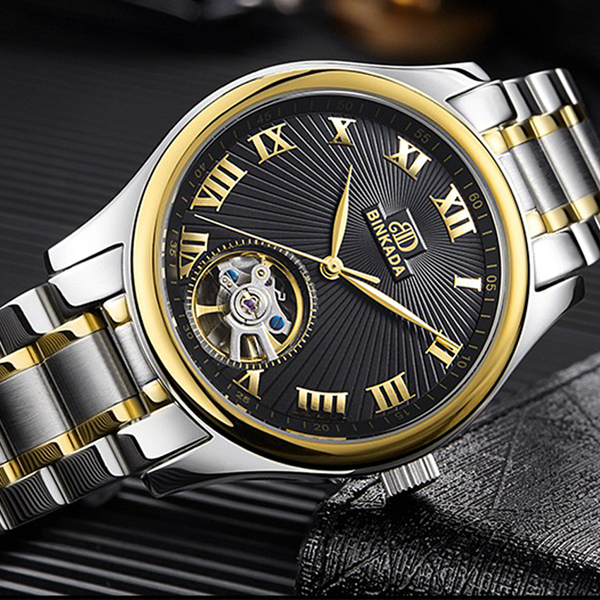 New Roman Number Watch Men Automatic Mechanical Watches Skeleton Mens Watches Top Brand Luxury Relogio Masculino Clock luxury brand sport clock roman numerals dial men mechanical hand wind watch skeleton vintage watches leather strap 2017 new