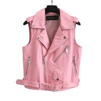 2018 Fashion Leather Vest Womens Sleeveless Leather jacket Turn Down Collar Pockets PU vest Waistcoat leather coat Top VE010