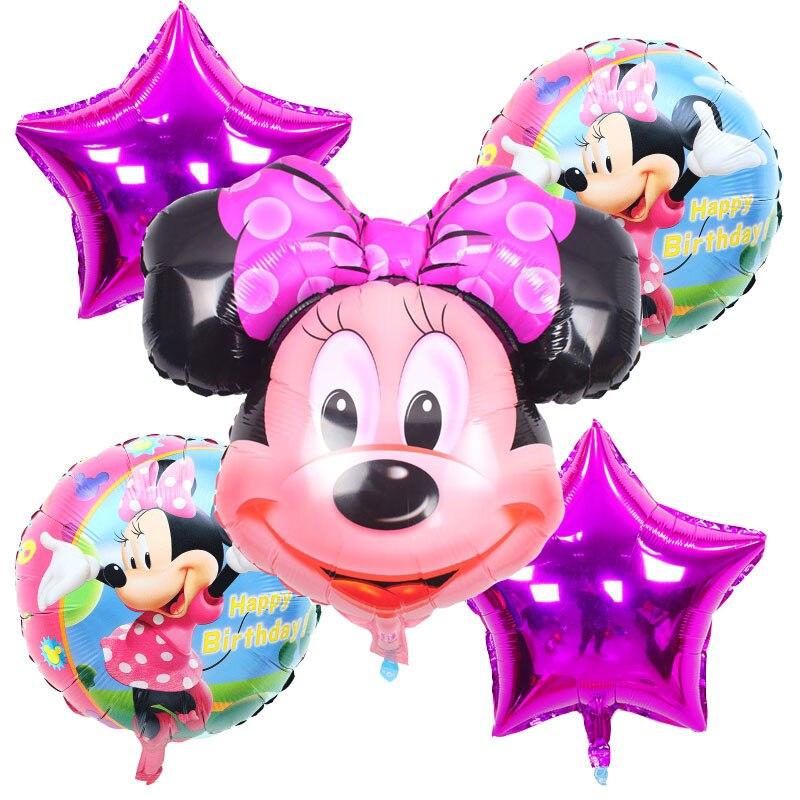 5pcs/lot Mickey Minnie foil Balloons inflatable Birthday balloons Helium balloon