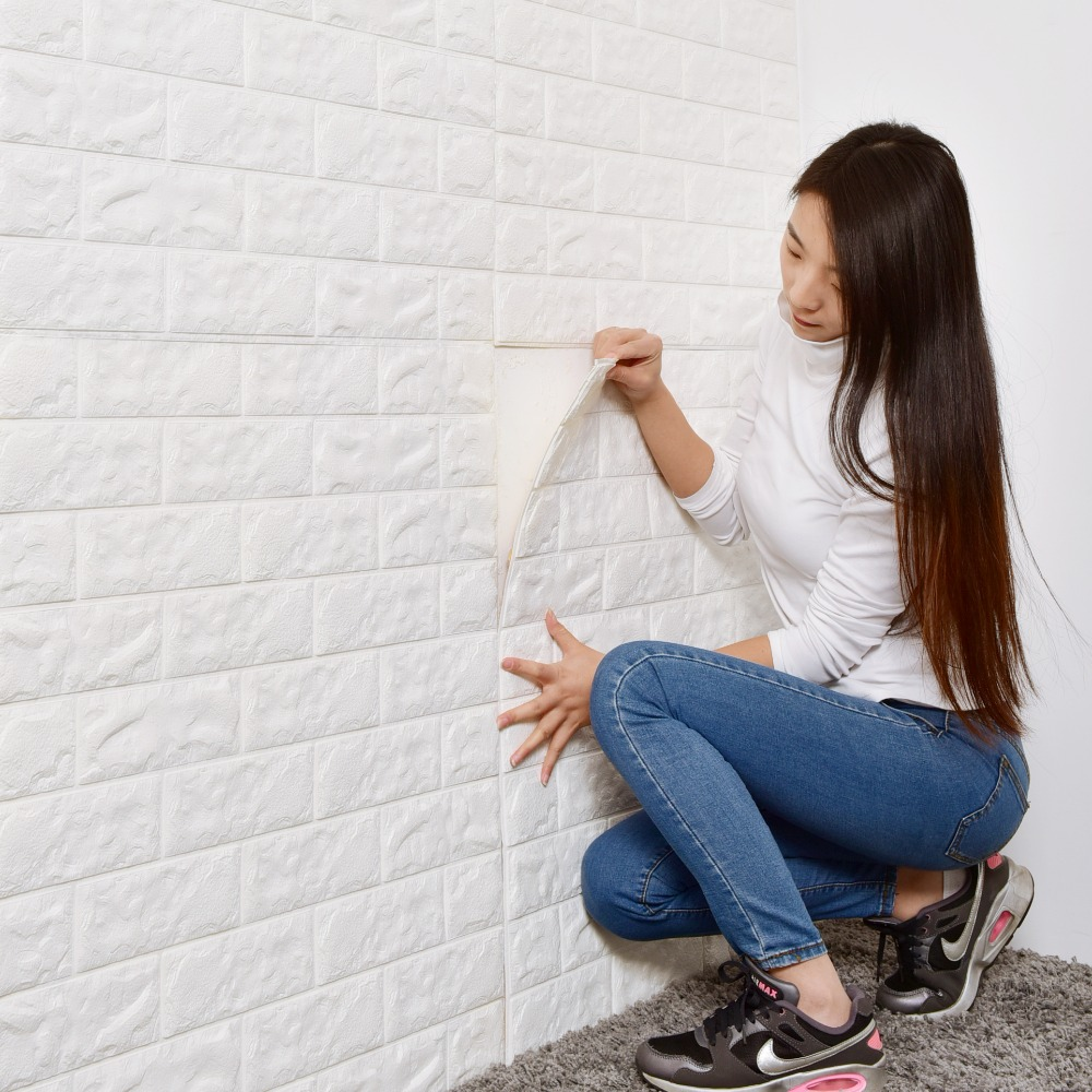 Self-adhesive Wallpaper White Brick Stickers 3d Wall Stickers Living Room Bedroom Decoration TV Background Waterproof 70*77cm