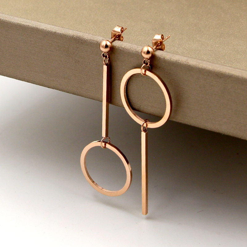 Fashion Stainless Steel Dangle Geometric Round Circle Asymmetry Drop Earrings Rose Gold Color Women Party Wedding Gift