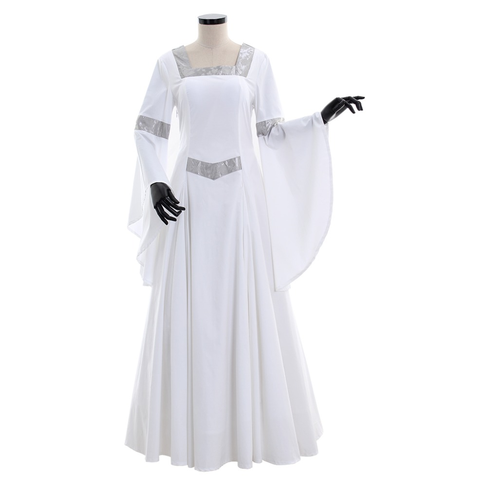 Cosplaydiy Screen White And Silver Medieval Victorian Luxurious Renaissance  Dress Retro Women Wedding Dress L320 790d87ade738