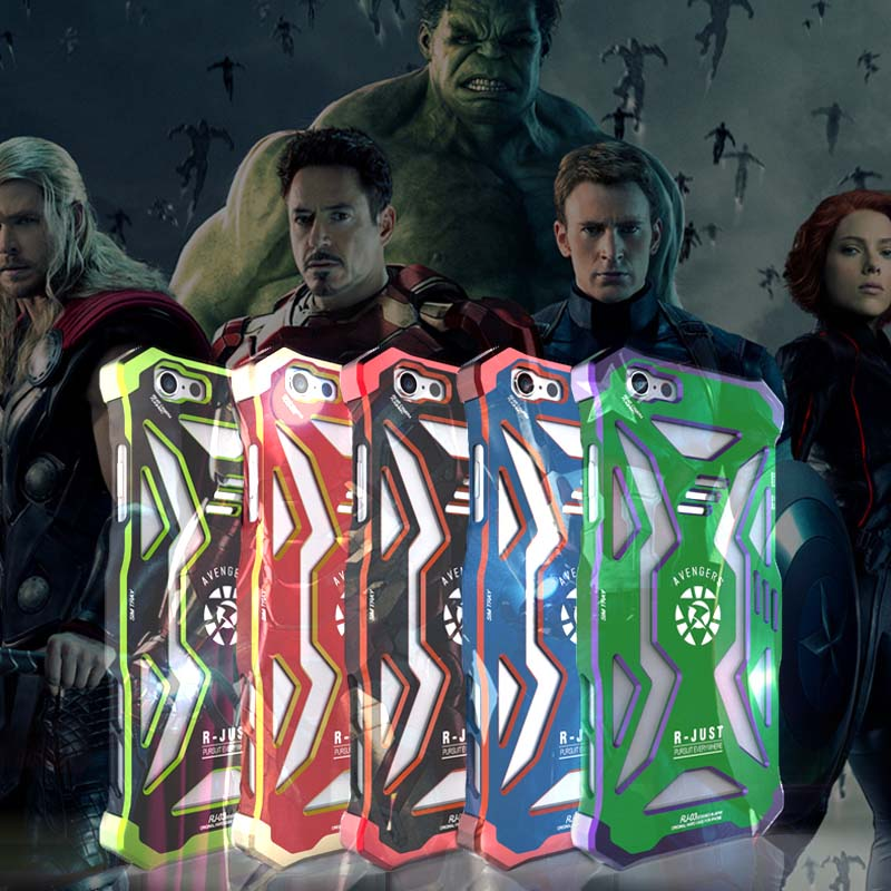 imágenes para Aleación De Aluminio De lujo de Metal Cubierta Posterior Para el iphone 6 TPU + Metal Caja Del Teléfono Protector Para el iphone 6 s Superman Marvel 4.7