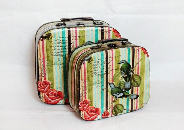 3ff929d58d US $79.9 |Free Shipping S/2 Decorative Suitcase Vintage suitcase MDF Canvas  box 2 birds Wedding suitcase /Photography props/decoration on ...