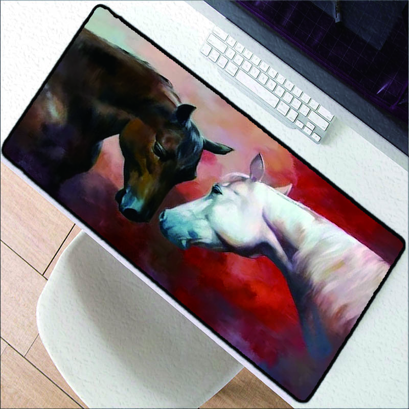 Large size mouse pad brown white horse animal gaming mouse pad laptop keyboard mat high quality rubber pad speed version