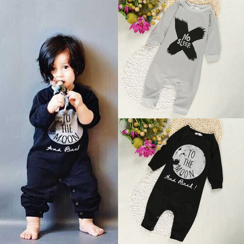 Cotton Rompers For Baby Girl Long Sleeve Jumpsuits Fashion Letter Printed Newborn Boys Rompers Autumn Black Infant Overalls 0-2T ...