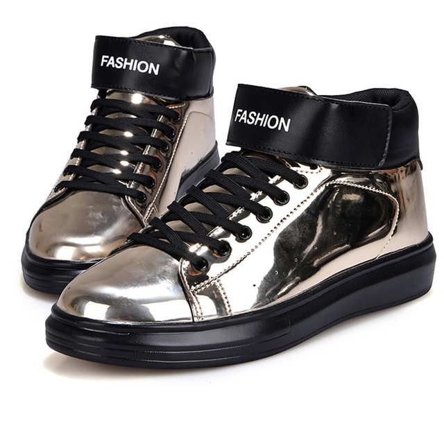 b7fe288204e Men s patent leather loafers High platform shoes Increased in nightclubs men  shoes The glossy lace-ups PU Rubber non-slip soles