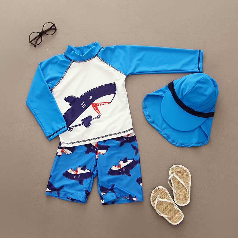 все цены на Summer Swimsuit 2018 Boys Rash Guards Long Sleeve Two-piece Swimwear Set Cute Kids Bathing Suits Baby Boy Swimming Wear онлайн