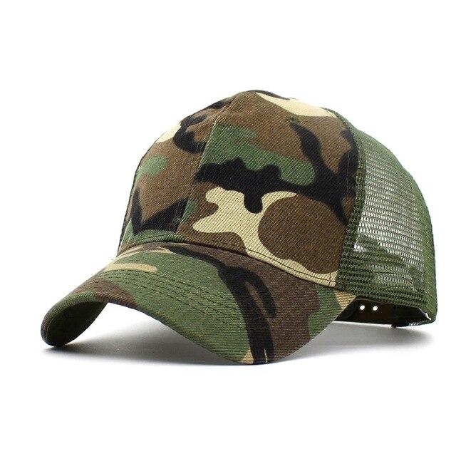 e9318a2b909 Fashion Camouflage Baseball Cap Men Trucker Cap Mesh Summer Hat Women  Outdoor Como Sports Caps Sun Cap Chapeau