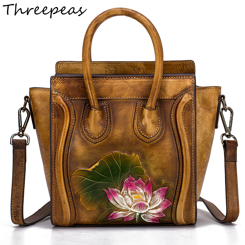 THREEPEAS Women Bag Genuine Leather Women Messenger Bags Crossbody Designer Ladies Shoulder Bag Bolsa Feminina fashion leather women messenger bag cowhide shoulder bag women satchels crossbody bag bolsa feminina