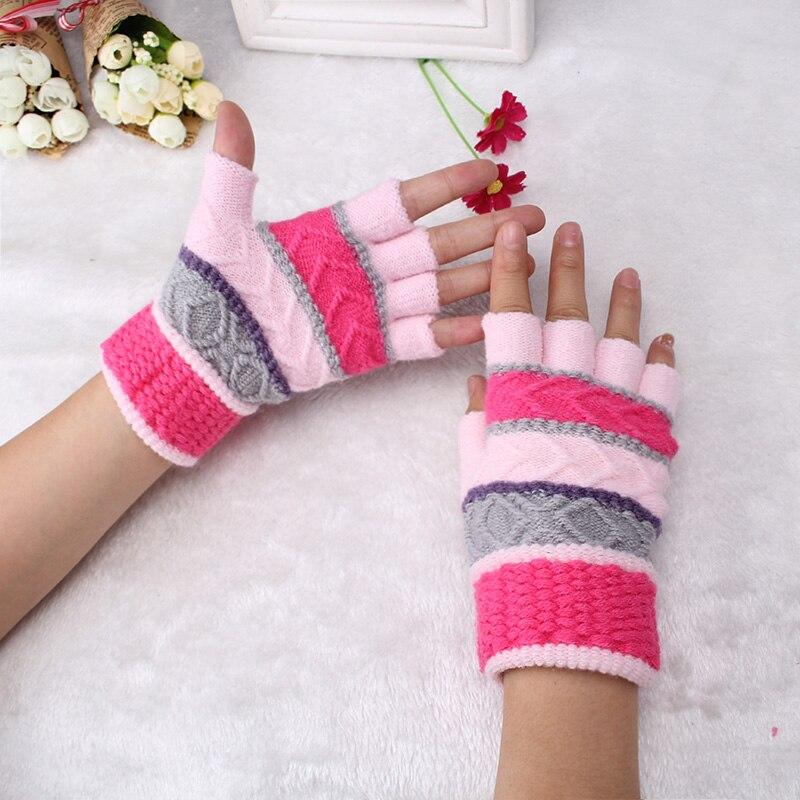 Miya Mona 2018 Classic Knit Mitten Gloves Women Christmas Half