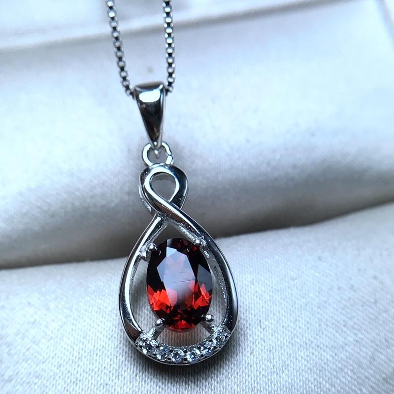 Uloveido Natural Garnet Pendant Necklace for Women, 925 Sterling Silver, 5*7mm January Birthstone Gemstone Wedding Jewelry FN158