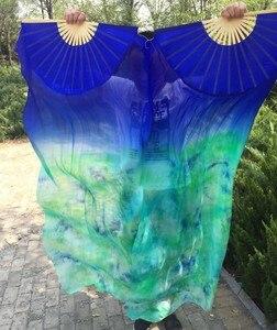 Image 5 - Großhandel gefärbt 100% reine natürliche seide fan schleier für bauchtanz sexy 180cm lange seide fan für tänzer zeigen auf der bühne EIN paar