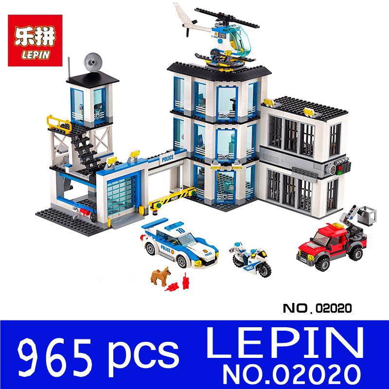 LEPIN 02020 965Pcs City Series Children Educational Police Station Set Building Blocks Bricks Toys Model for Children Gift 60141 sermoido 02012 774pcs city series deep sea exploration vessel children educational building blocks bricks toys model gift 60095