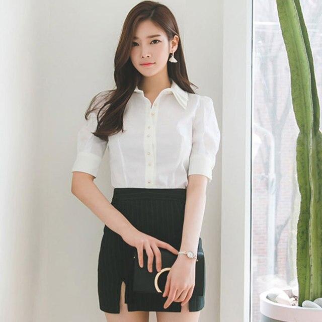 55966192eeda2 Dulce camisas para mujer de diseño Simple blusa blanca mujer Blusas dama  camiseta Top 2019 verano