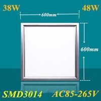 10pcs AC 85 260V ultra thin flat led panel light 600x600 38W 48W office down light