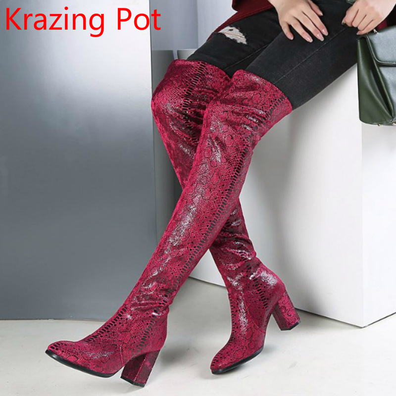 2018 New Arrival Stretch High Heels Thigh High Boots Square Toe Original Design Slip on Casual Keep Warm Over-the-knee Boots L23 slip on winter boots stretch lycra