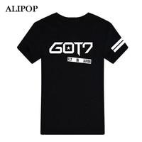 Youpop KPOP Korean Fashion 2016 Got7 FLIGHT LOG Album FLY IN JAPAN Black Cotton Tshirt Clothing