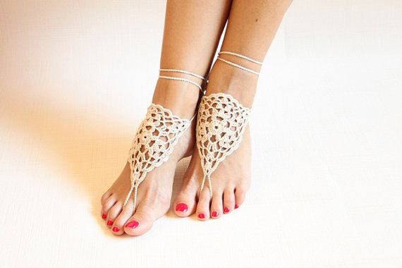 Foot decoration Belly dance shoes Yoga barefoot Beige barefoots Bridal  beach barefoot Crochet beige barefoot Victorian lace-in Anklets from Jewelry  ... 573f1d0f52b1