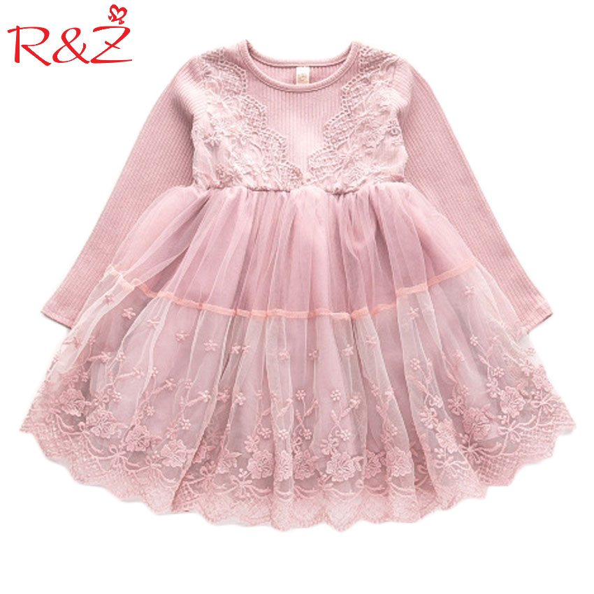 R&Z 2017 New Girls Long Sleeve Dresses Fall Fashion Lace V Collar Splice Princess Puff Dress Party Gift Pink Is Immortal immortal unchained