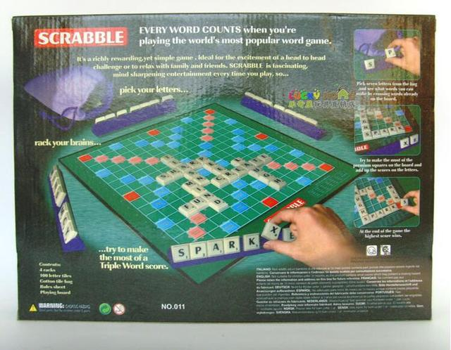 Scrabble Tiles Table Puzzle Game Multilanguage English Spanish French Instruction Letter Board Crossword Spelling