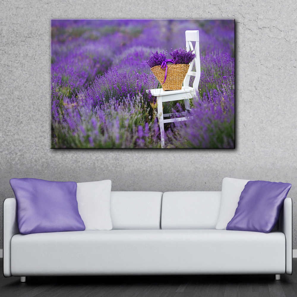 lavender farm with white chair flowers wall picture artwork canvas painting art HD printed poster wood frame plaque living room