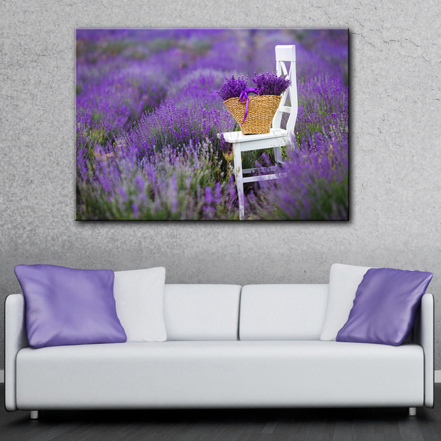 chair photo frame hd costco massage chairs lavender farm with white flowers wall picture artwork canvas painting art printed poster wood