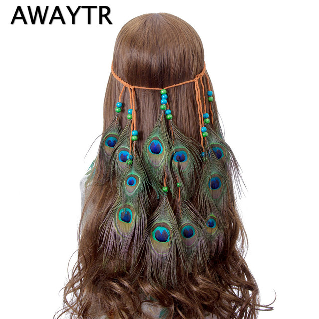 Awaytr Feather Pea Headband Native American Indian Artificial Braided Headbands Hair Accessories