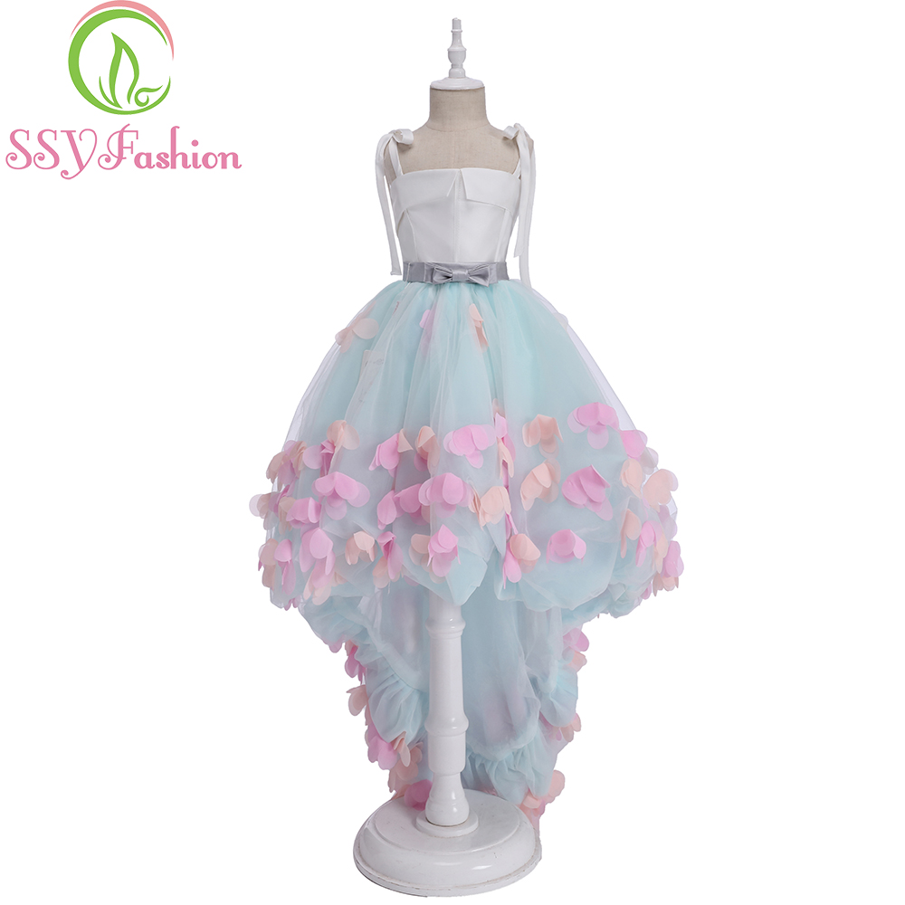SSYFashion Summer New Mint Green   Flower     Girl     Dresses   for Wedding Short Front Long Back Appliques Children Princess Party Gowns