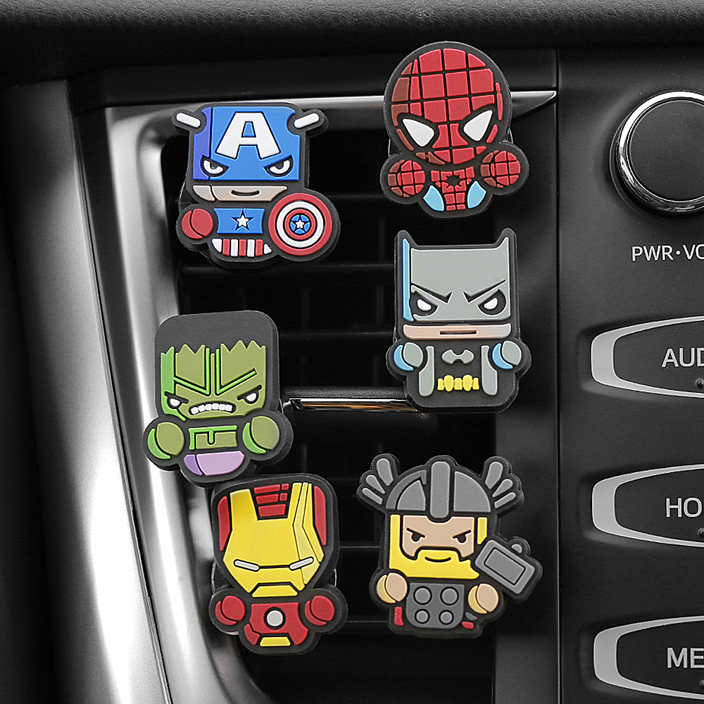 3pcs/set Cute Automobile Car Vent Perfum Clip For Marvel Avengers Hero Figure Auto Interior Decoration Air Freshener Accessories