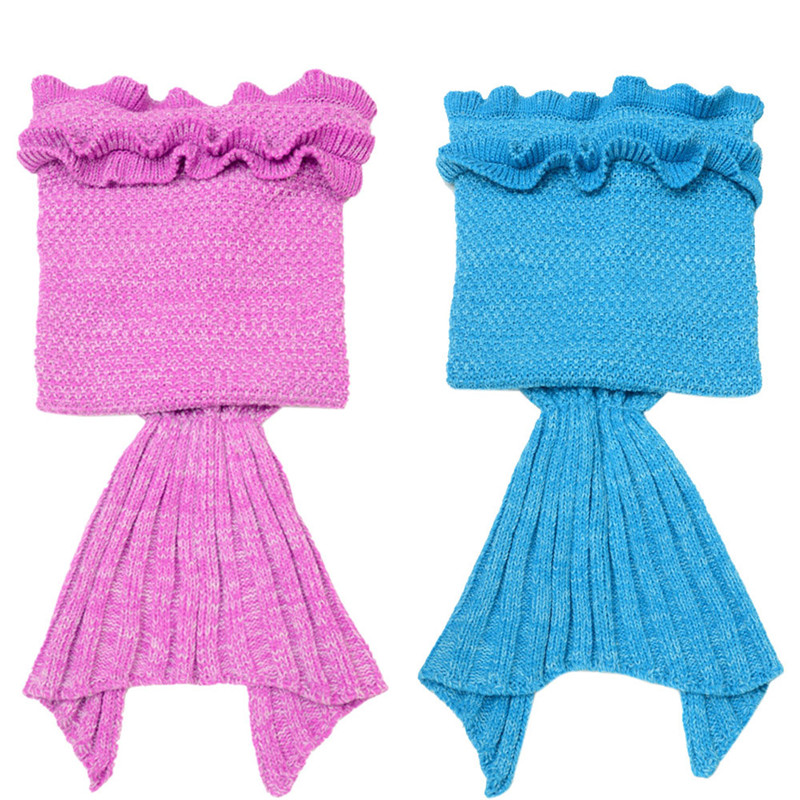 Knitted Mermaid Tail Blanket Handmade Crochet Children Bed Wrap Sleeping Bag Anti-Pilling Portable Blanket 2017 New May26