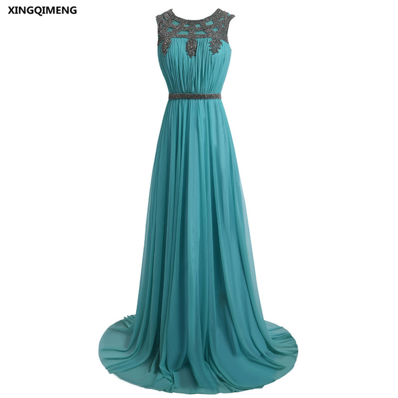 Turquoise Evening Dress Chiffon Mother of the Bride Dresses Crystal ...