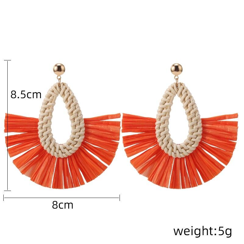 HOCOLE Handmade Bohemian Tassel Drop Earrings For Women Fashion Wood Rattan Knit Geometric Dangle Earring Statement Jewelry 2019 in Drop Earrings from Jewelry Accessories