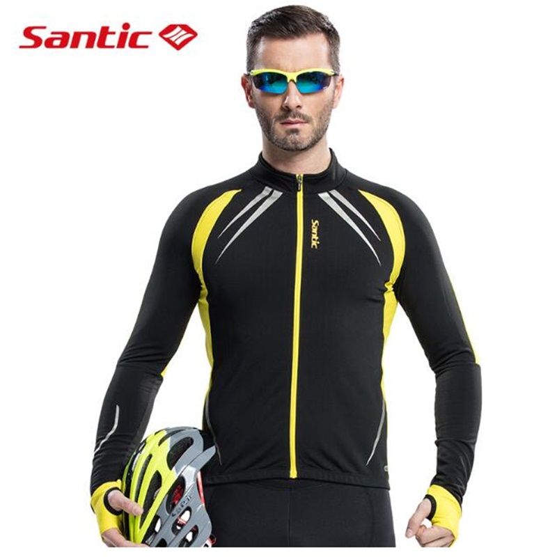 Santic Men Winter Cycling Jacket Thermal Fleece Mountain Bike Jacket Windproof Windbreaker Cycling Clothing Coat Jacket santic autumn winter cycling fleece jacket thermal windproof mountain bicycle bike jacket windcoat mtb cycling jacket clothing
