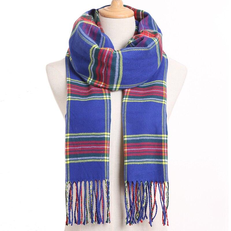 [VIANOSI] клетчатый зимний шарф женский тёплый платок одноцветные шарфы модные шарфы на каждый день кашемировые шарфы - Цвет: 19