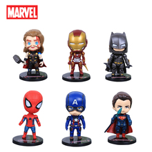Disney Marvel Avengers Infinity War Captain America Thor Spiderman  Q Version Action Figure Anime Collection Figurine Toy model цена и фото