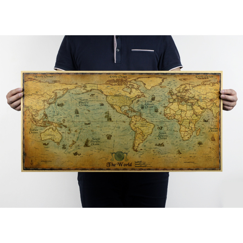 Large Vintage <font><b>Nautical</b></font> World Map <font><b>Home</b></font> <font><b>Decoration</b></font> Detailed Antique Poster Wall Chart Retro Paper Matte Kraft Paper 72x35cm