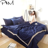 2019 Dark Blue Solid Quilting Quilt Set Satin Polyester Fabric Polyester Twin Queen Size Summer Comforter Bedsheet Pillowcases