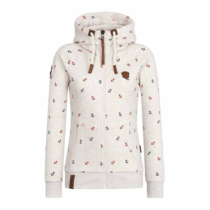 Plus Size S-5XL Hooded Sweatshirts Women Autumn Winter Flocking Thicken Print Jackets Tracksuits Zipper Female Casual Sportswear