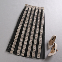 PHOEBE HZ Women Strip patchwork skirt indie folk High Waist a line Embroidery Mesh skirt