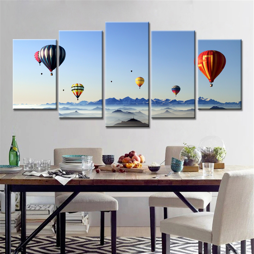 5 Panels Drop Shipping Modern Home Decor Hot Air Balloon Seascapeframeless Picture Wall Art Canvas Painting