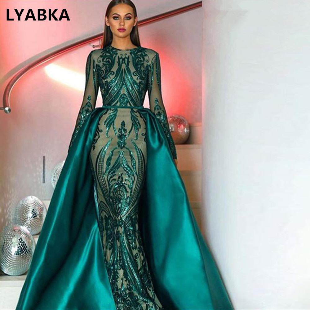 Muslim Long Sleeve Evening Dresses 2019 With Detachable Train Sequin Bling Moroccan Kaftan Formal Evening Dress