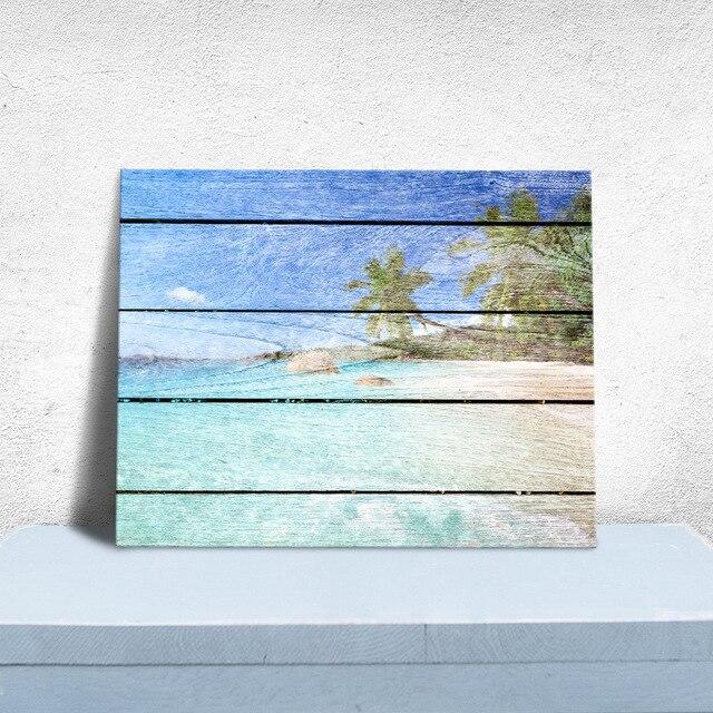 Art Print Oil Painting Beach Framed Wood Pattern Home/Store/Room ...