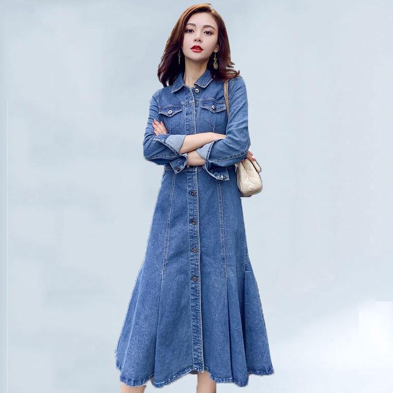 Automne Femme Mince 539 Printemps Denim Longues Décontracté Robe Pour Femmes Blue Revers 2019 Nouveau À Manches Tempérament Robes Élégant Harajuku drxBeWoC