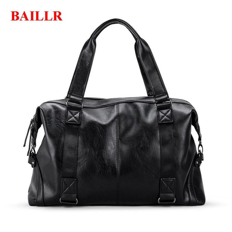 BAILLR Business Travel Handbag Vintage PU Leather Shoulder Bags FashionHandbag For Men Casual High-capacity Duffle Bags M517