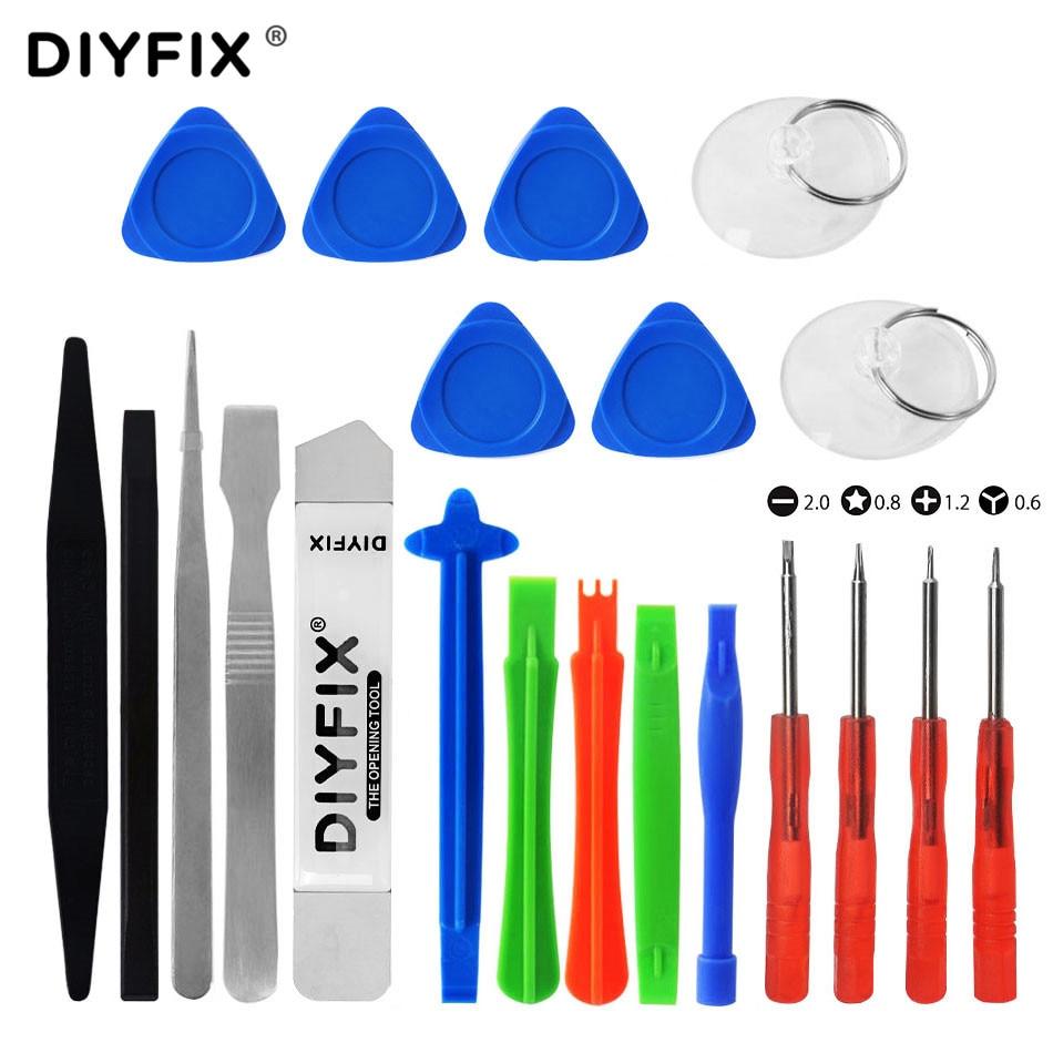 DIYFIX 21 in 1 Mobile Phone Screen Opening Pry Crowbar Mini Screwdriver Set for iPhone 7 iPad Samsung Repair Tool Hand Tools Kit