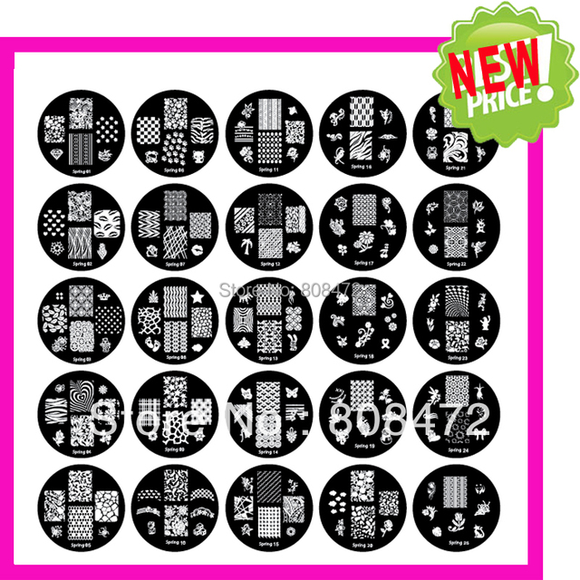 2017 NEW Nail Art template Spring Set 25 Nice designs Dia5.6cm Small Round New Fashion Designs