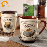 Classic Hand-painted Porcelain Mug,Ceramic Coffee Cup for making Espresso,Cappuccino,Mocha,Latte coffee cup disc belt spoon